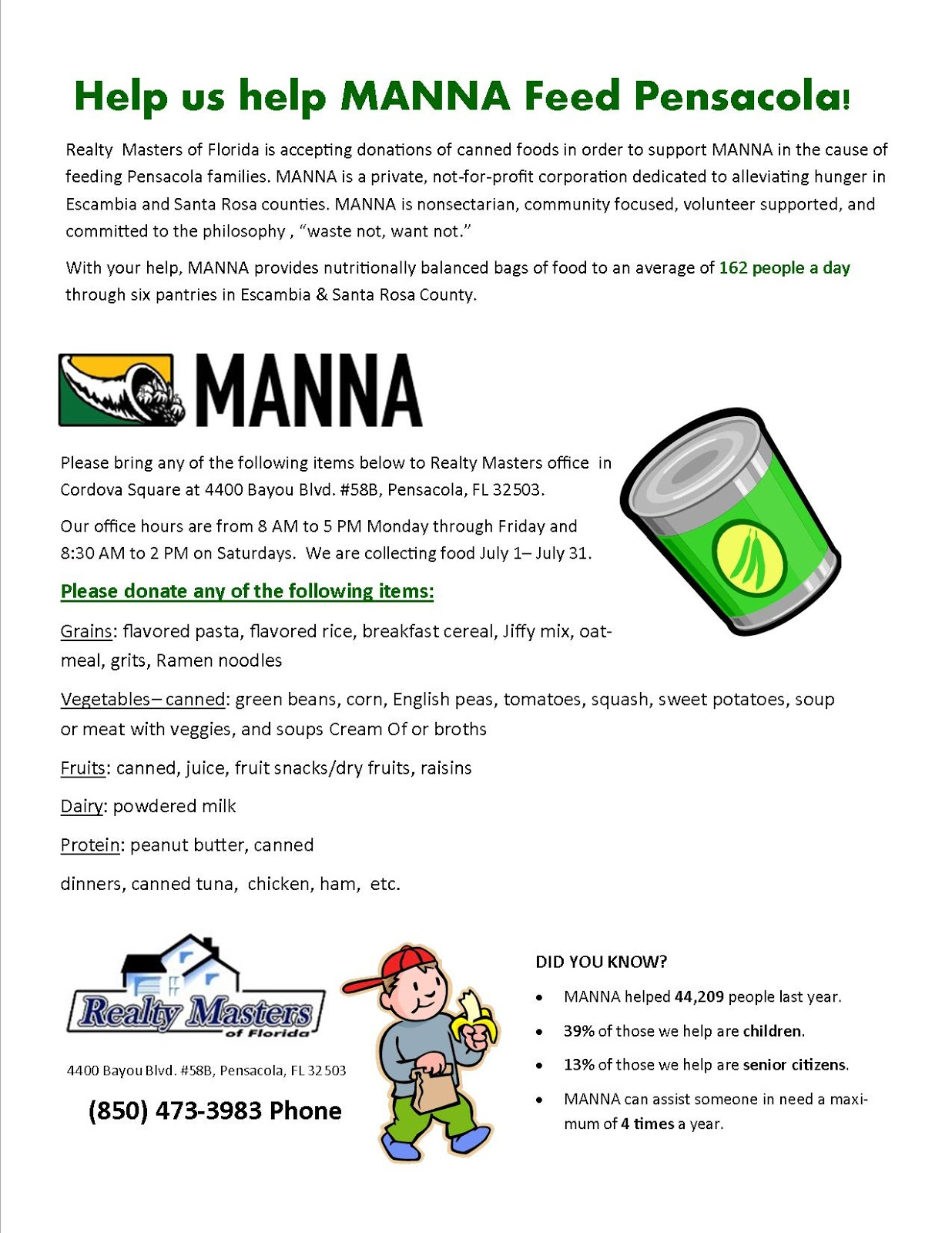 Donate Canned Food Manna Food Bank