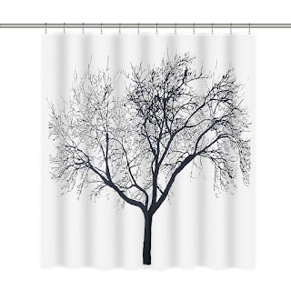 Homitex Shower Curtain Mildew-Free Water-Repellent Fabric Shower Curtain Liner with Tree Design, 72 × 72inch, White