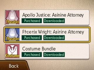 Phoenix Wright Ace Attorney Spirit of Justice DLC downloaded purchased costume bundle asinine attorney episodes