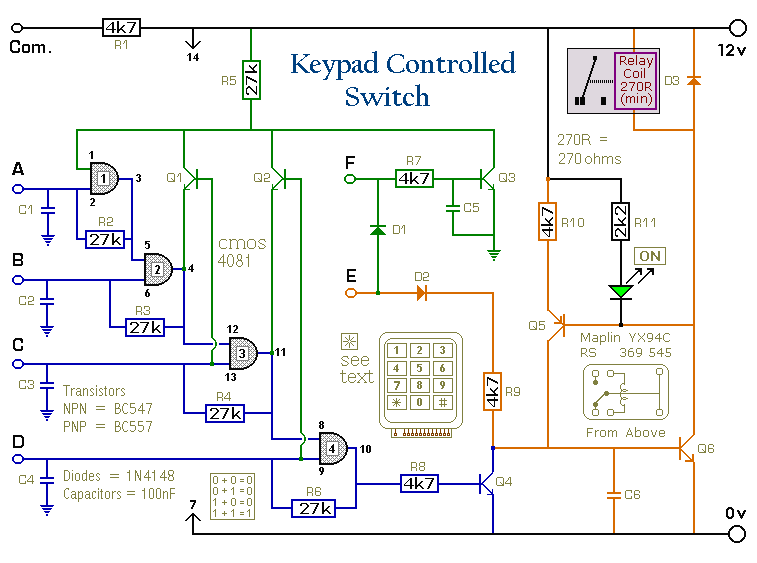4 Digit Keypad Switch Circuit Diagram