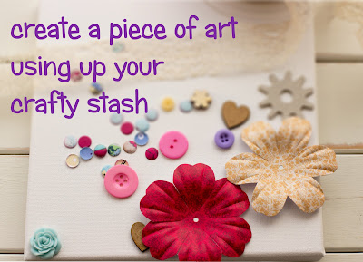 how to create a piece of art using up your craft stash