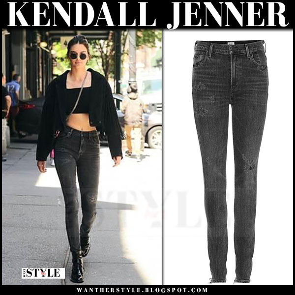 Kendall Jenner in grey citizens of humanity carlie skinny jeans and black jacket what she wore