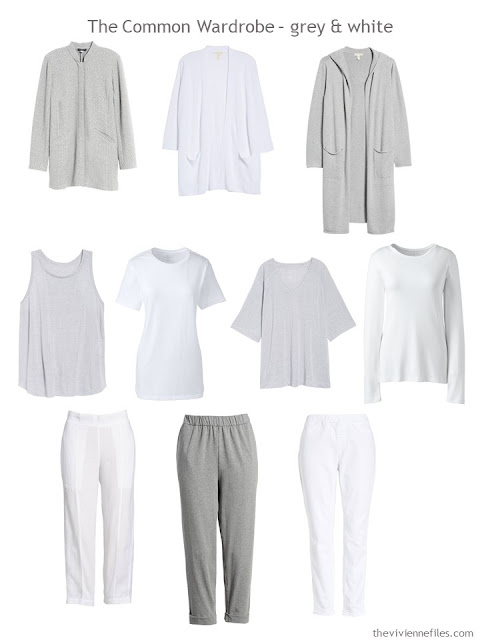 A Common Wardrobe for Spring in grey and white