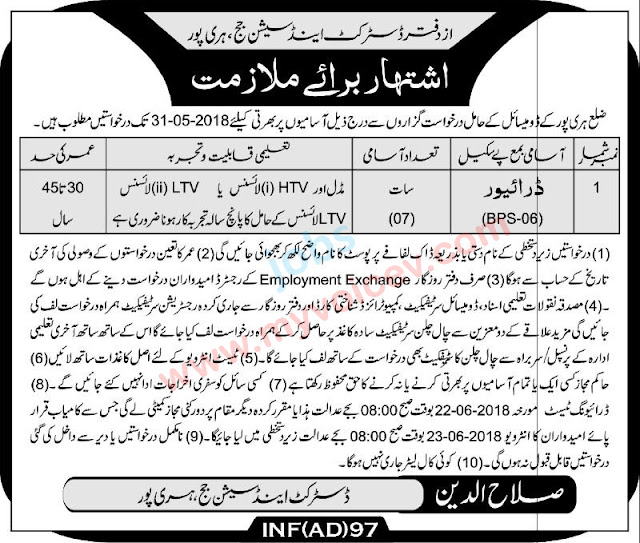 Jobs for drivers in the office of District And Session Judge Haripur - 02 May 2018