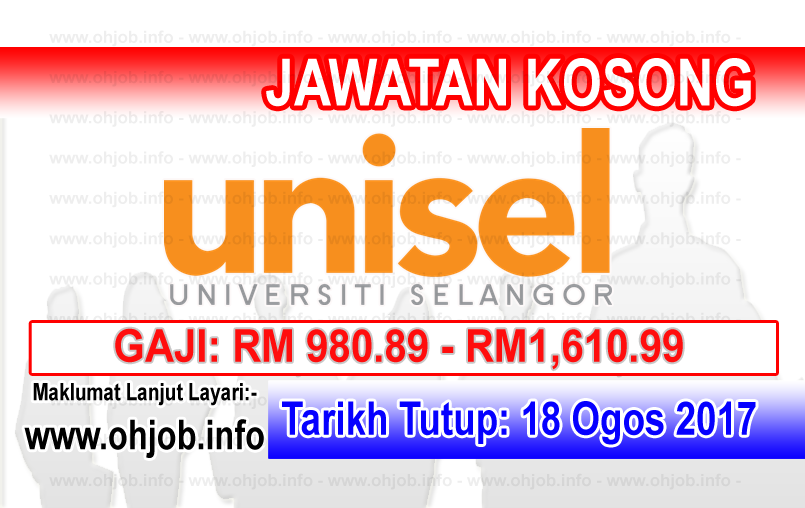 Jawatan Kerja Kosong University of Selangor - UNISEL logo www.ohjob.info ogos 2017