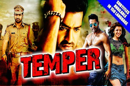 Poster Of Temper 2016 Hindi Dubbed 720p HDRip x264 Free Download Watch Online Worldfree4u