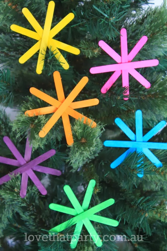Easy DIY Kid's Christmas Ornaments made with neon popsicle sticks. www.lovethatparty.com.au