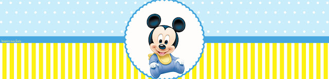 Mickey Baby in Light Blue and Yellow Free Printable  Labels.