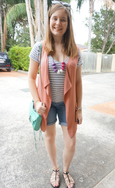 casual SAHM stripe tee denim shorts pink waterfall drape sleeveless coat | Away From Blue