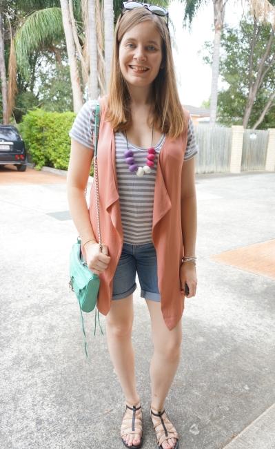 casual SAHM stripe tee denim shorts pink waterfall drape sleeveless coat | Away From Blue