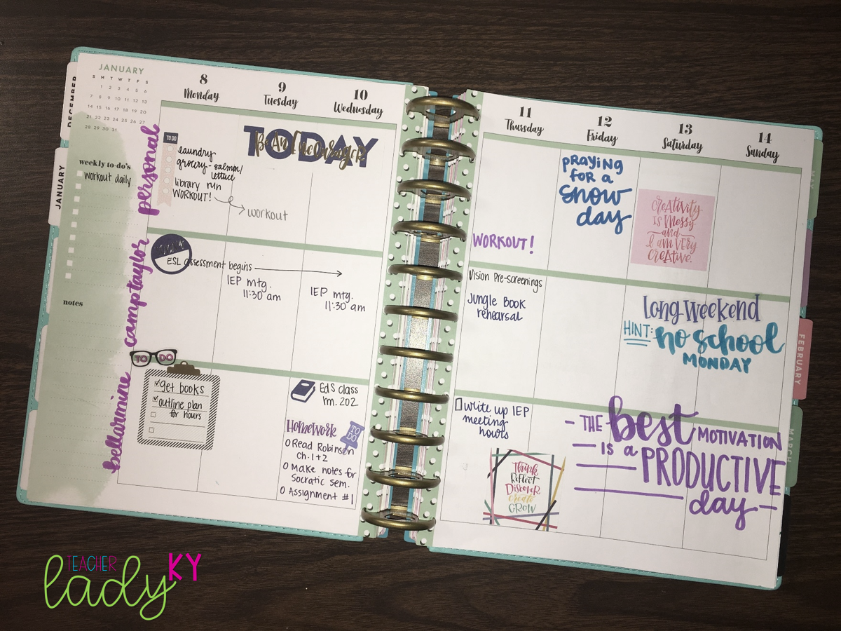 Using a Happy planner to manage school, work, and personal items.