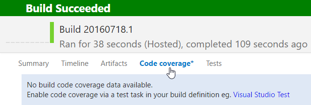 vsts build - code coverage