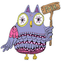 cute pink and lavender owl holding a sign reading free