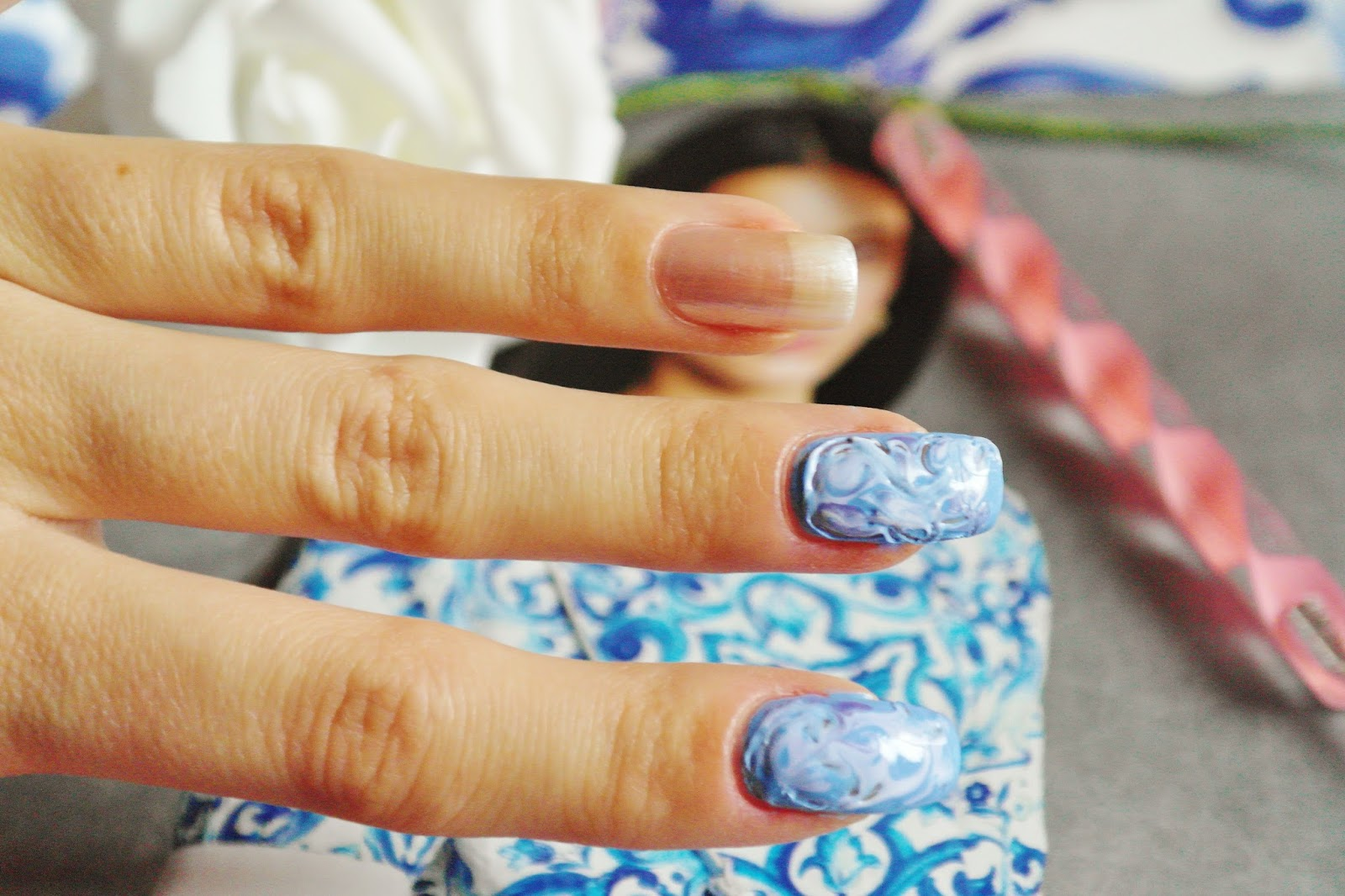 Icy Blue Winter Nails Made With Dry Marble Technique Fashion