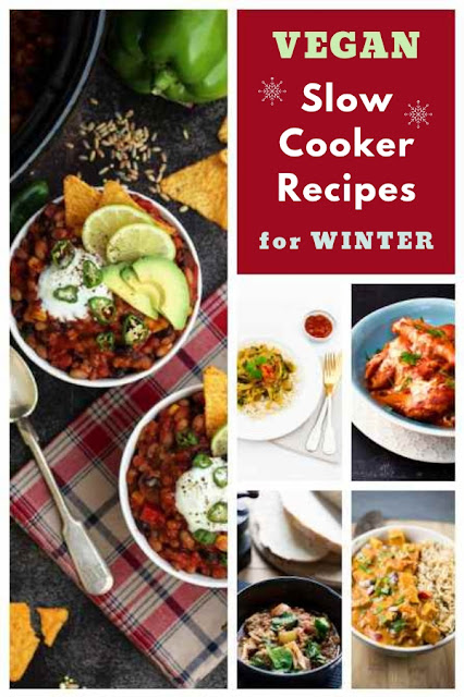 Easy vegan slow cooker recipes to give you comfort and keep you warm this winter. Starters, main course, sweet dishes and drinks. #slowcooker #crockpot #veganslowcooker #vegancrockpot #winterslowcooker #wintervegan #veganrecipes