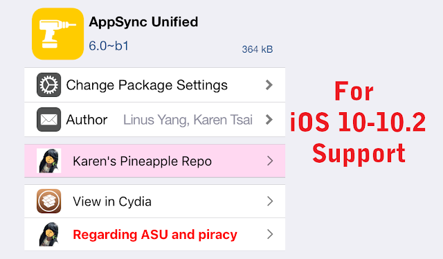 This new beta version of AppSync Unified is available on Karen's Cydia repository and is now compatible with iOS 10 or later.