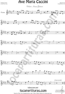 Flauta Travesera, flauta dulce y flauta de pico Partitura del Ave María de Caccini Sheet Music for Flute and Recorder