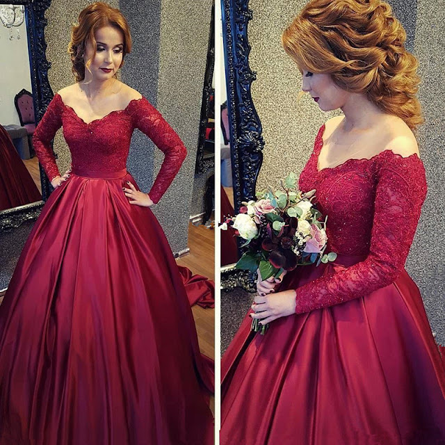 Modest Burgundy Off-the-shoulder-Long Sleeve Lace Prom Dress