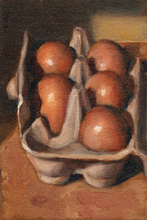 Oil painting of five eggs in an egg carton.