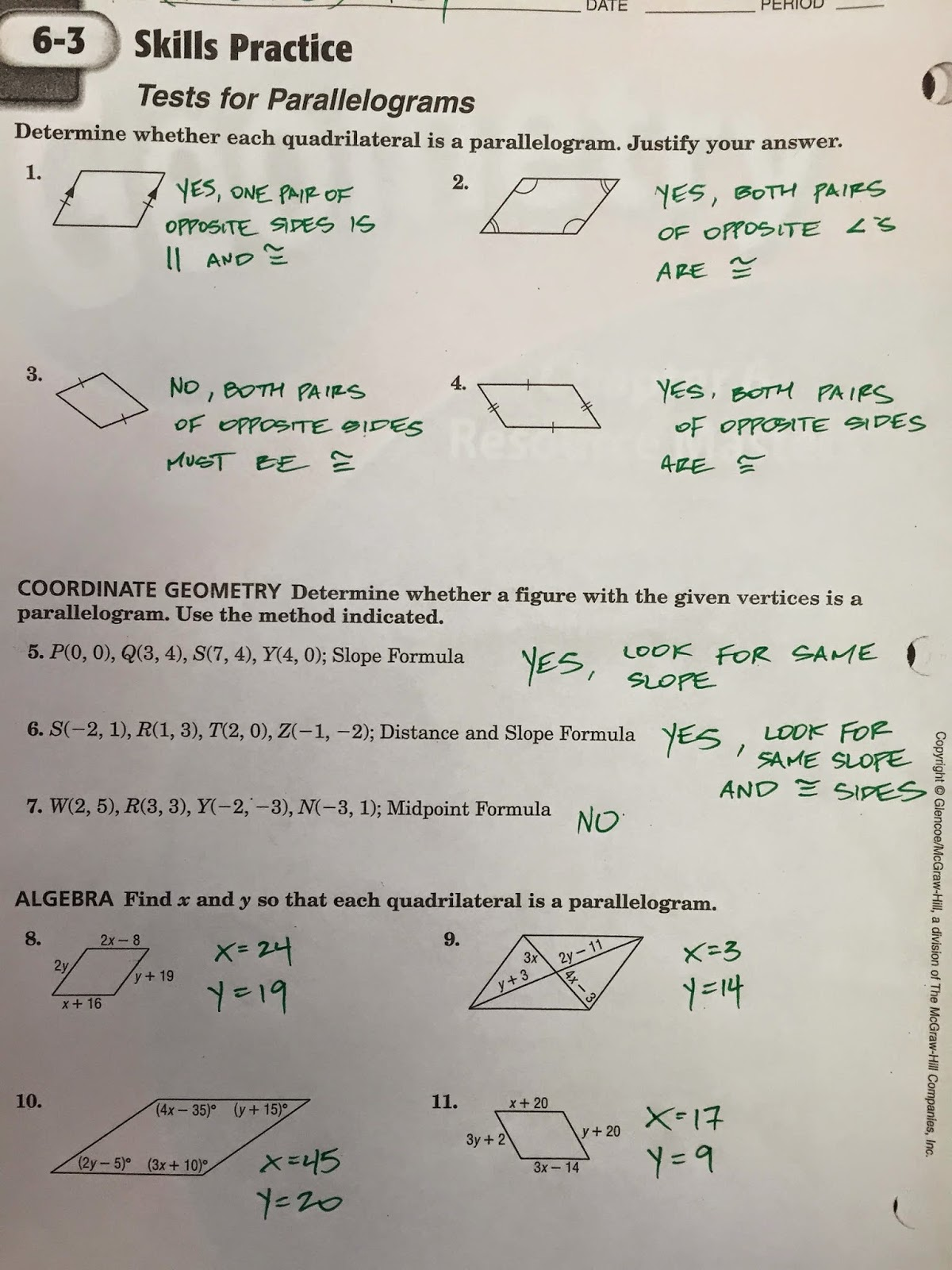 Geometry Worksheet 6 2 Parallelograms Answers