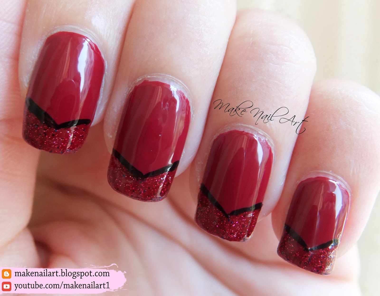 Make Nail Art: Easy Red French Manicure Nail Art Design ...