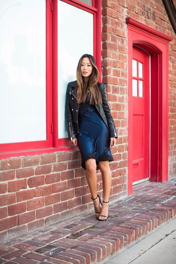Song of Style - Black Leather Jacket + Blue Silk Lace Cami Dress