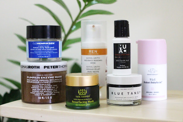 Best Exfoliating Masks and Peels for Bright, Clear Skin - Ole Henriksen Lemon Strip Flash Peel, Peter Thomas Roth Pumpkin Enzyme Mask, Tata Harper Resurfacing Mask, Herbivore Blue Tansy, REN Glycol Lactic Radiance Renewal Mask, Drunk Elephant TLC Sukari Babyfacial, Makeup Artist's Choice 20% Glycolic Acid