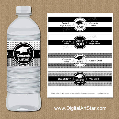 black and white 2017 graduation water bottle labels for high school graduation or college graduation
