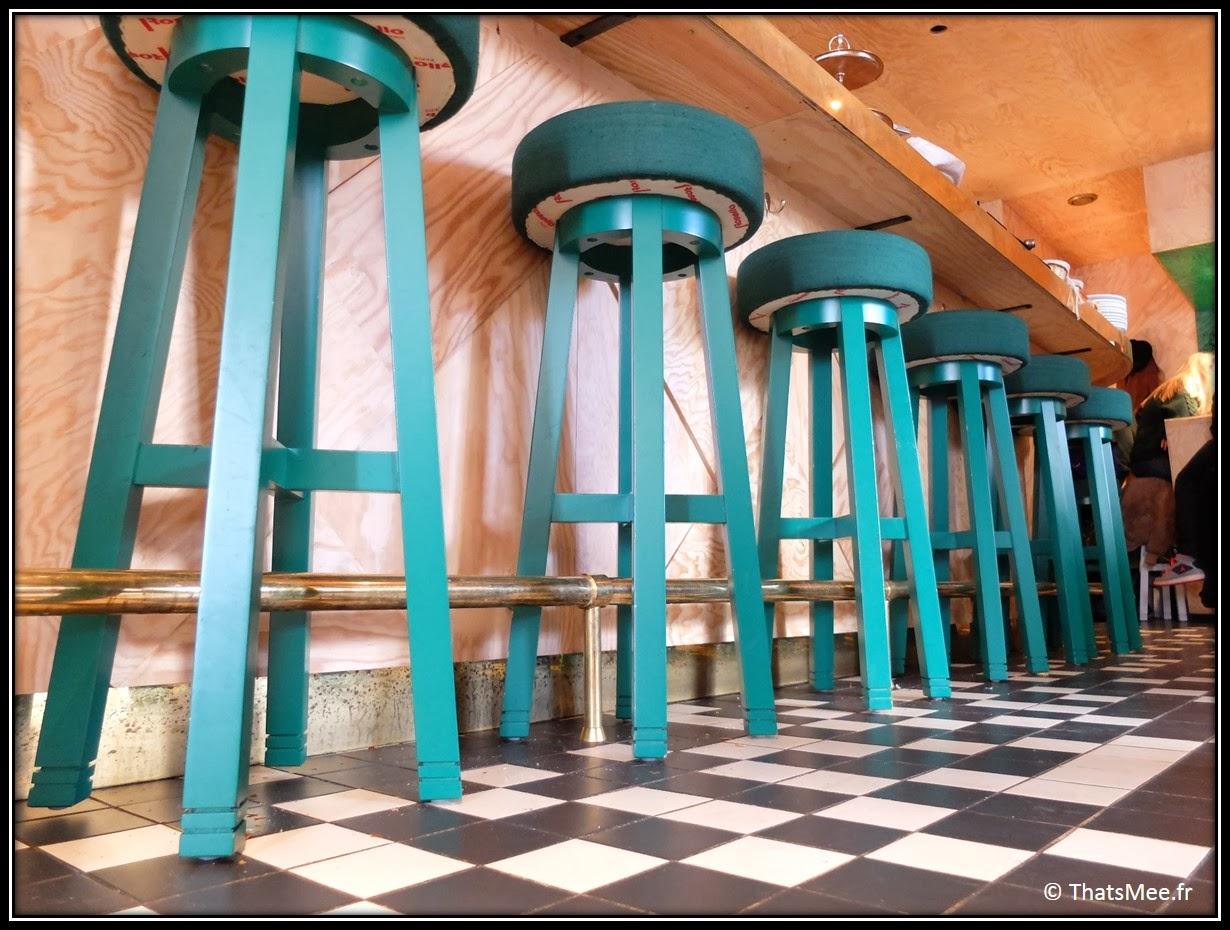 Brunch Le Wood Paris Woodbar Marais place Thorigny tabourets de bar verts, déco tout en bois design restaurant Paris Marais, brunch a volonte Paris Marais Le Wood