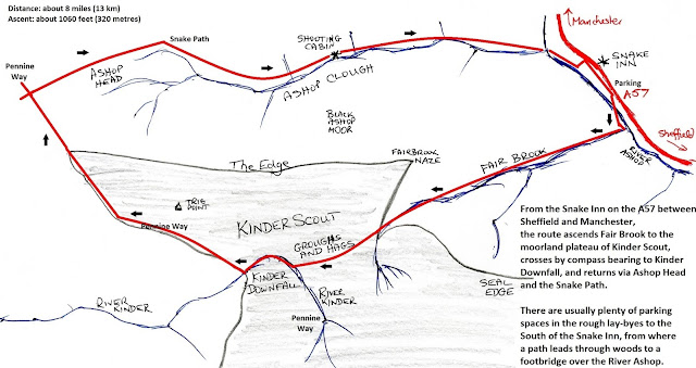 A walk on Kinder Scout (route from an early John Merrill book)