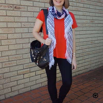 awayfromtheblue instagram | coral v-neck tee with pink striped scarf and black nobody denim jeans Balenciaga part time