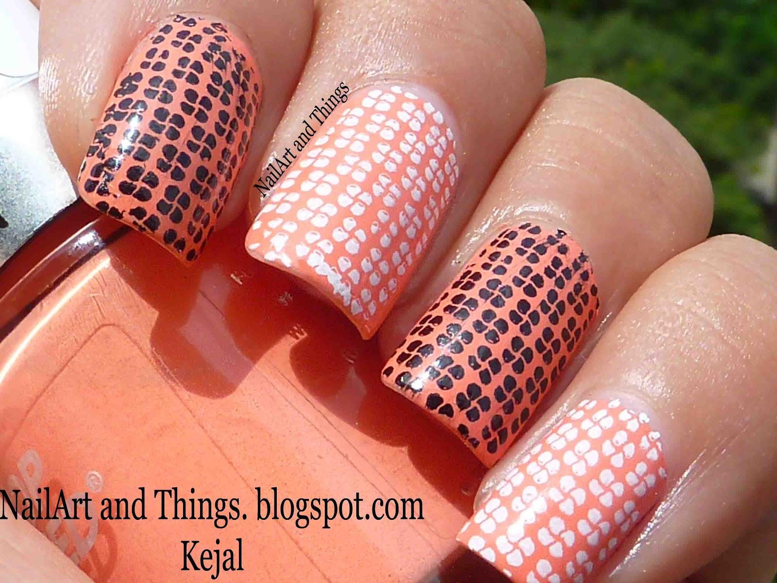 NailArt And Things: Revlon Peachy+ Patterned Nail Art