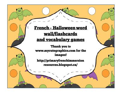 halloween word wall words flashcards and vocabulary games primary french immersion resources. Black Bedroom Furniture Sets. Home Design Ideas