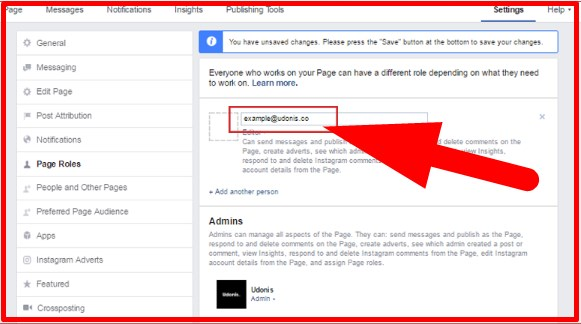 how to add admin to facebook page without email