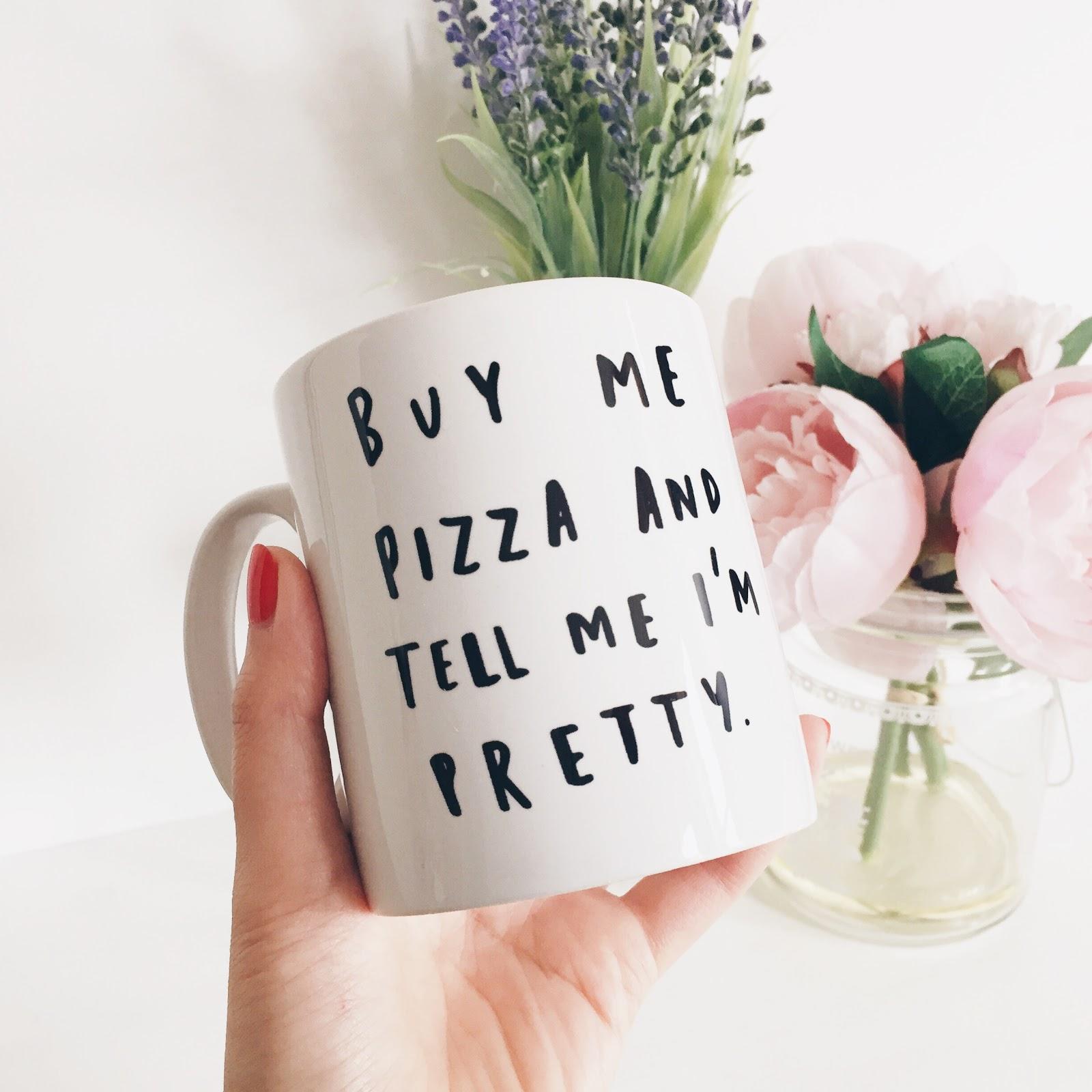 etsy mug, buy me pizza and tell me i'm pretty