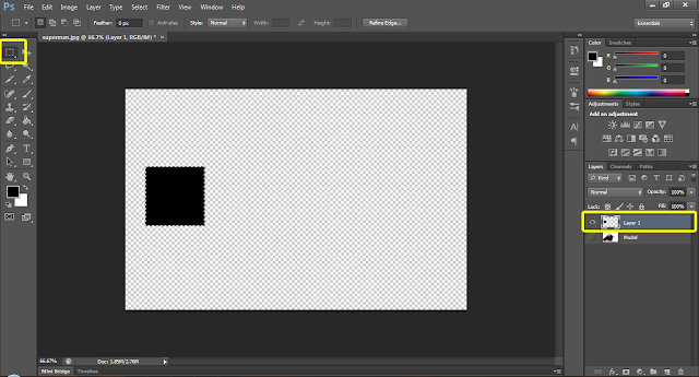 create a square selection using rectangular marquee tool in photoshop