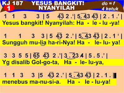 Lirik dan Not Kidung Jemaat 187 Yesus Bangkit! Nyanyilah