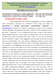 Haryana Irrigation JE Recruitment 2017