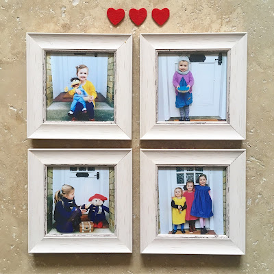 I love these four photos of the girls printed and framed for our gallery wall