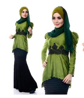 model baju kurung batik kombinasi polos