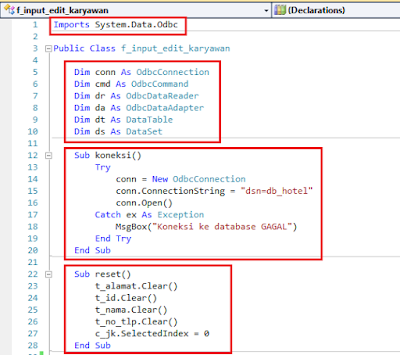 7.1 - Part5 membuat Aplikasi Hotel Dengan Vb.Net + Database Mysql – Form Input Karyawan