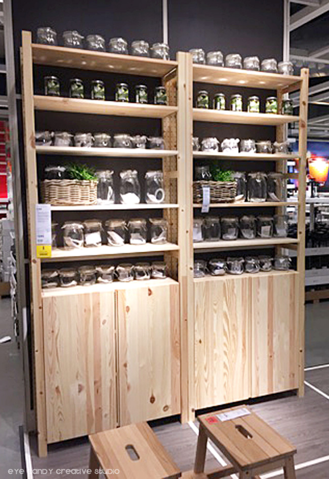 wood cabinet, storage solutions at IKEA, glass storage containers