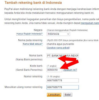pengaturan isi data rekening bank di paypal