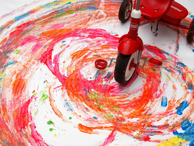 tricycle action art with preschoolers- super fun and unique process art idea!