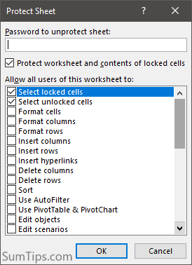 Excel Protect Sheet options