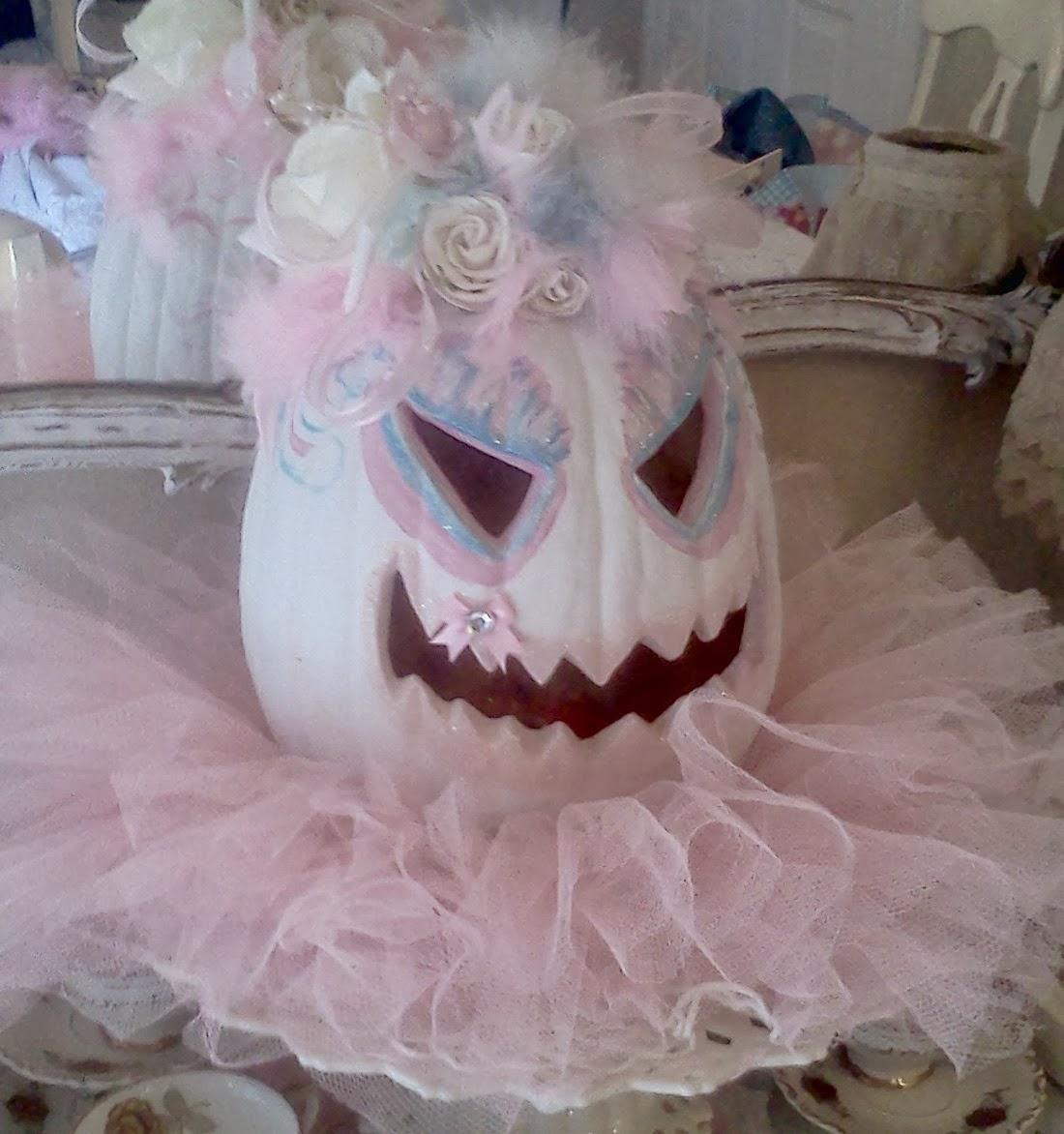 Olivia's Romantic Home: Shabby Chic Pink Pumpkin Fall