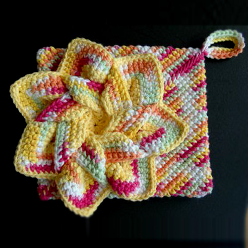 Crocheted Flower Hot Pads - Free Pattern