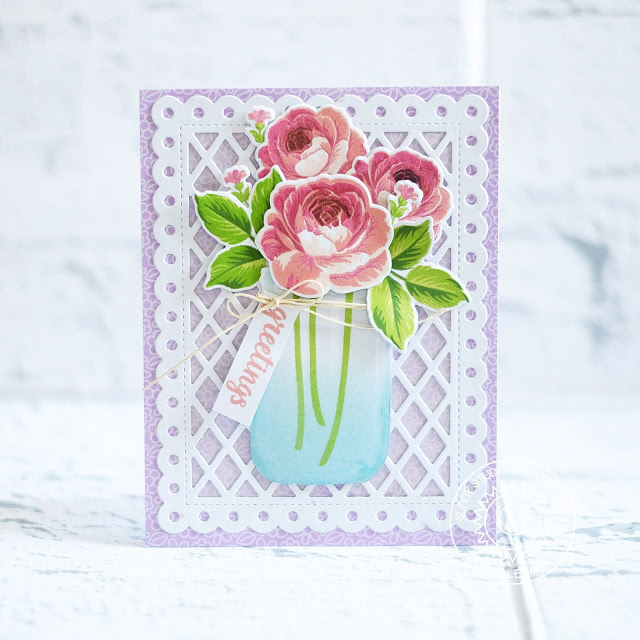 Sunny Studio Stamps: Everything's Rosy Frilly Frames Vintage Jar Greetings Card by Lexa Levana