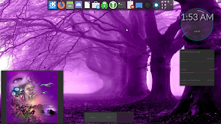 Another purple look with a downloaded wallpaper to go with the Darkine theme
