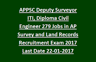 Andhra Pradesh APPSC Deputy Surveyor ITI, Diploma Civil Engineer 279 Govt Jobs in AP Land Records Recruitment Exam 2017